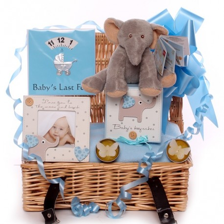 Small elephant baby hamper cute little boy elephant themed baby hamper negle Choice Image