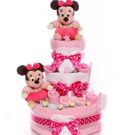 Twins Nappy Cake Minnie Mouse Baby Girls